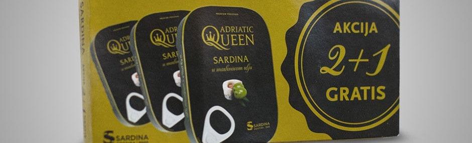 Akcijska prodaja AQ Sardina u maslinovom ulju 2+1 gratis